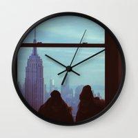 manhattan Wall Clocks featuring Manhattan by Mt Zion Press