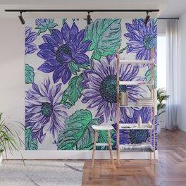 Large Purple Flowers Wall Mural