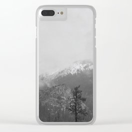 The Mountains of California- Black & White Clear iPhone Case