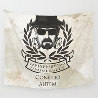 heisenberg Wall Tapestries featuring Heisenberg University Crest by Vin Zzep