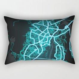 Thane, India, Blue, White, Neon, Glow, City, Map Rectangular Pillow