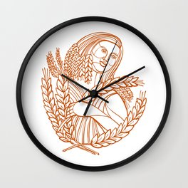 Demeter Goddess of Harvest Mono Line Wall Clock