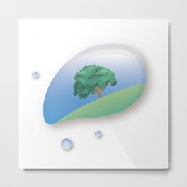 a tree reflected in a drop of water Metal Print