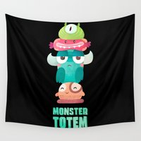 totem Wall Tapestries featuring Monster Totem by Bixorama