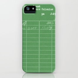 Library Card 797 Negative Green iPhone Case