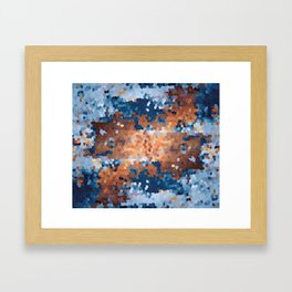 Copper and Denim Abstract Framed Art Print