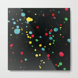 Watercolor splatters on black Metal Print