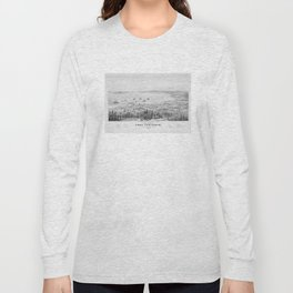 Vintage Pictorial Map of Port Townsend WA (1878) Long Sleeve T-shirt