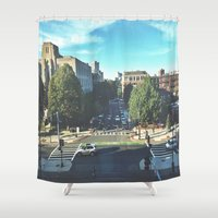 hustle Shower Curtains featuring Hustle by Out of Line