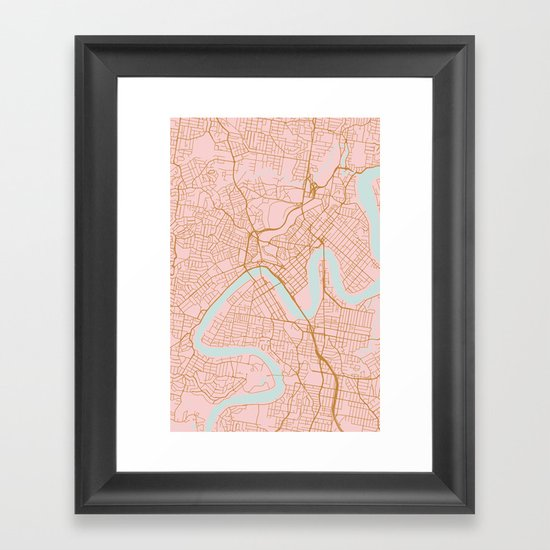 Pink and gold Brisbane map by annago