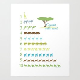 Counting Safari Animals - Grass Stains colorway Art Print