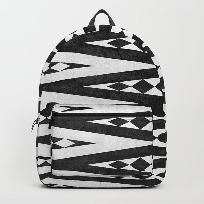 Tribal pattern in black and white. Backpack
