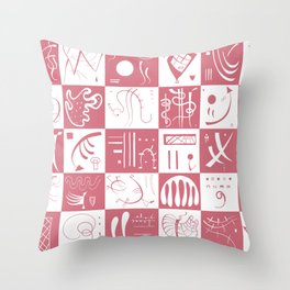 Kandinsky - White and Rose Pattern - Abstract Art Throw Pillow