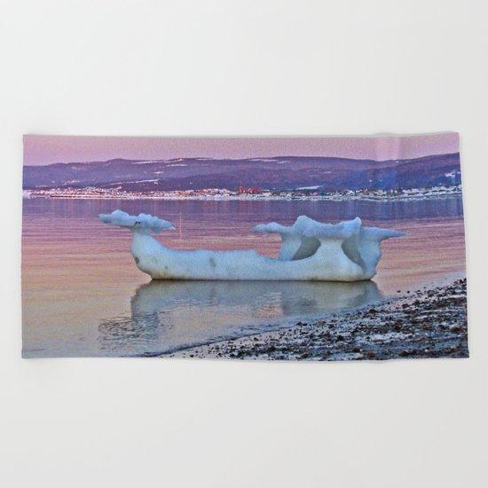 Viking Ice Ship Portrait Beach Towel
