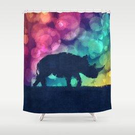 Pop Art Rhinoceros Shower Curtain