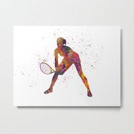 Woman plays tennis in watercolor 09 Metal Print