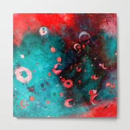 Red Turquoise Textured Abstract Metal Print