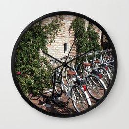 Bikes Along a Brick Wall Wall Clock