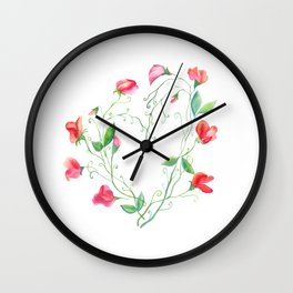 Heart of Sweet Peas Wall Clock
