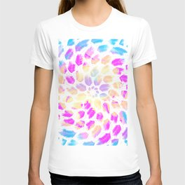 Iridescent Rainbow Feathery Mandala - Abstract Geometry Magick T-shirt