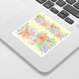 hawaiian tropical flowers yellow Sticker