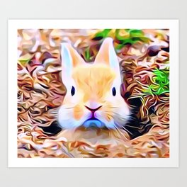 Bunny Rabbit Pops His Head Up Out Of His Burrow Art Print
