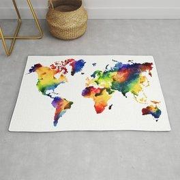 Rainbow World Map Rug