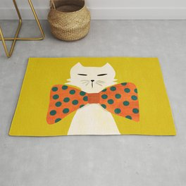 Cat with incredebly oversized humongous bowtie Rug