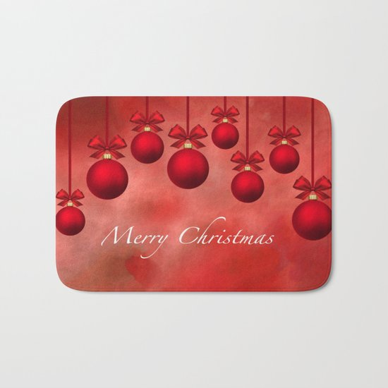 Merry Christmas Ornaments Bows and Ribbons - Red Bath Mat