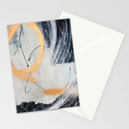 Midnight Time Lapse: a minimal, abstract mixed-media piece by Alyssa Hamilton Art in Gold, Black Stationery Cards