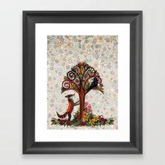 fox and crow Framed Art Print