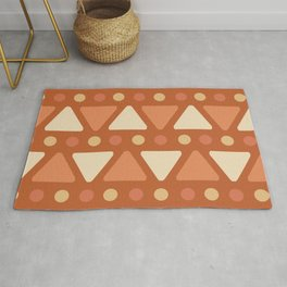 Mid Century Modern Triangles Dots Dark Orange Rug
