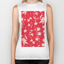 Festive Christmas Bright Red Passion Flowers Biker Tank