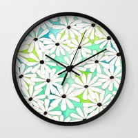 daisies Wall Clocks featuring Daisies by messy bed studio