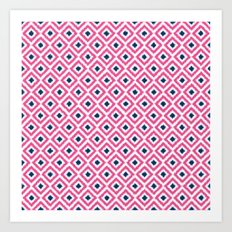 Pink and Navy Blue Diamonds Ikat Pattern Art Print
