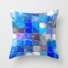 Mosaic / Abstract Art ' BLue SKieS ' BY SHiRLeY MacARTHuR Throw Pillow