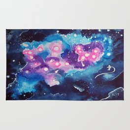 Tiny Astronaut and the Blue Nebula Rug