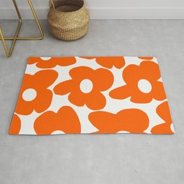 Orange Retro Flowers White Background #decor #society6 #buyart Rug