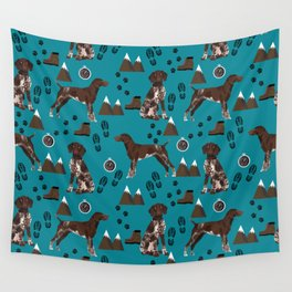German Shorthair Pointer mountain hiking hiker outdoors camping dog breed Wall Tapestry