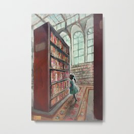 Exploring the Library Metal Print