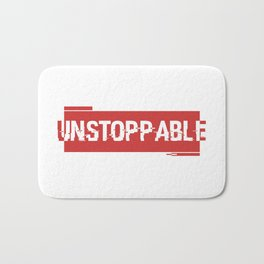 Unstoppable force red logo Bath Mat