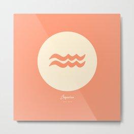 Aquarius Symbol Pink Metal Print