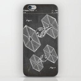 Starwars Tie Fighter Patent - Tie Fighter Art - Black Chalkboard iPhone Skin