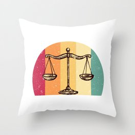 Scales Of Justice Lawyer Retro Gift Idea Throw Pillow