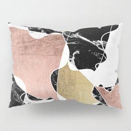 Modern white black marble rose gold foil color block handdrawn geometric lines Pillow Sham