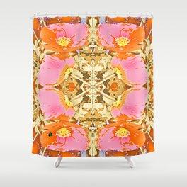 Pink & Orange Poppy 4 Shower Curtain