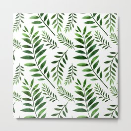 Watercolor Seamless pattern with green branches. Metal Print