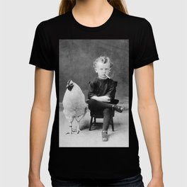 Smoking Boy with Chicken black and white photograph T-shirt