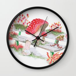 Mushrooms on a Public Bench | Surrealistic Watercolor Painting by Stephanie Kilgast Wall Clock