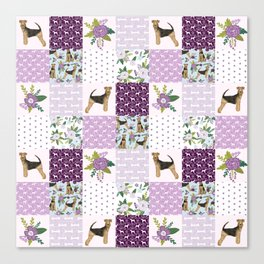 Airedale Terrier pure breed cheater quilt pattern dog lovers by pet friendly Canvas Print